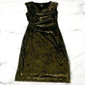 Vince Camuto Gold Velvet Ruched Sleeveless Dress